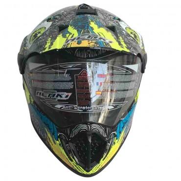 Мотошлем NENKI MX310 BRIGHT BLACK  YELLOW